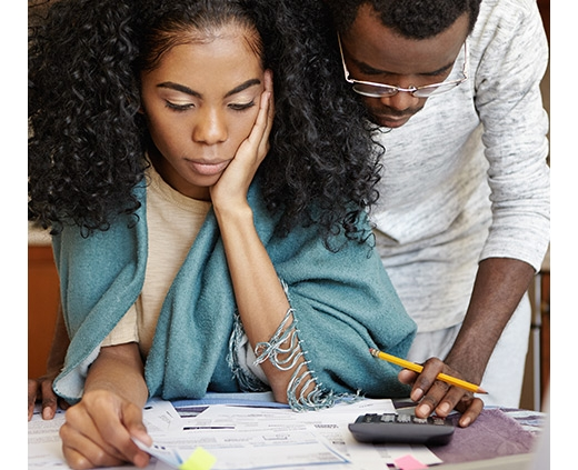 couple working with calculator